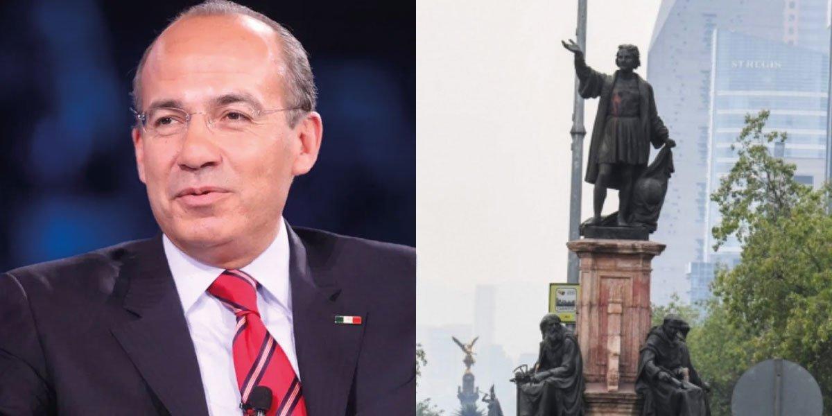 Calderón afirma que 'es delito mutilar' estatua de Colón: es parte del patrimonio histórico de México