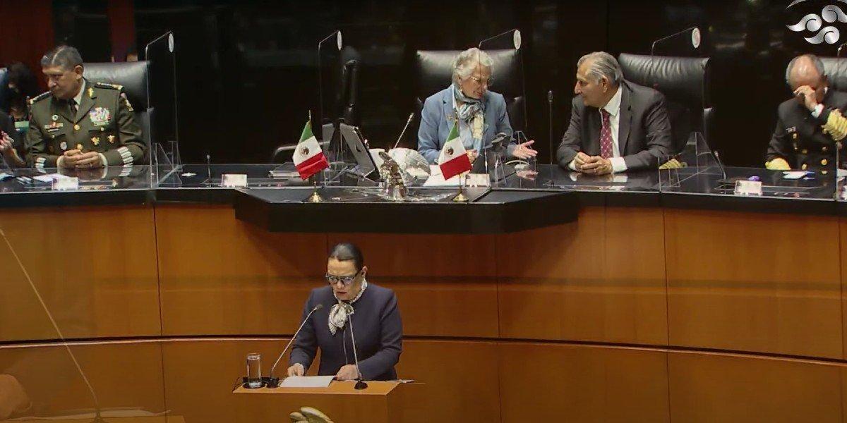 'No venimos a ganar una guerra, venimos a ganar la paz', dice Rosa Icela ante Senado