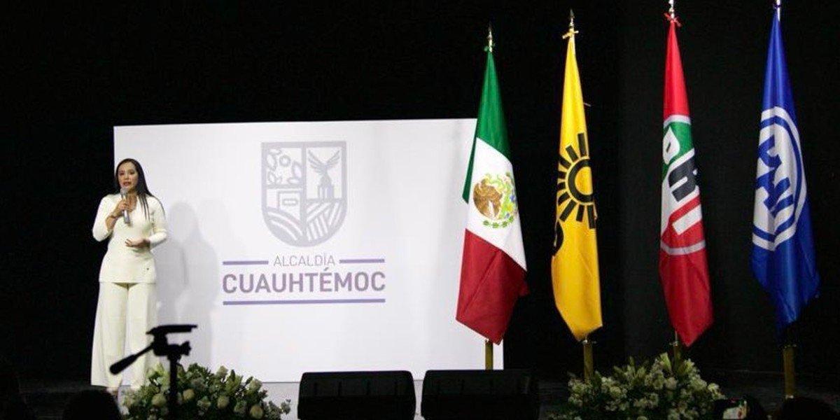 Sandra Cuevas presenta la nueva imagen de alcaldía Cuauhtémoc sin colores partidistas