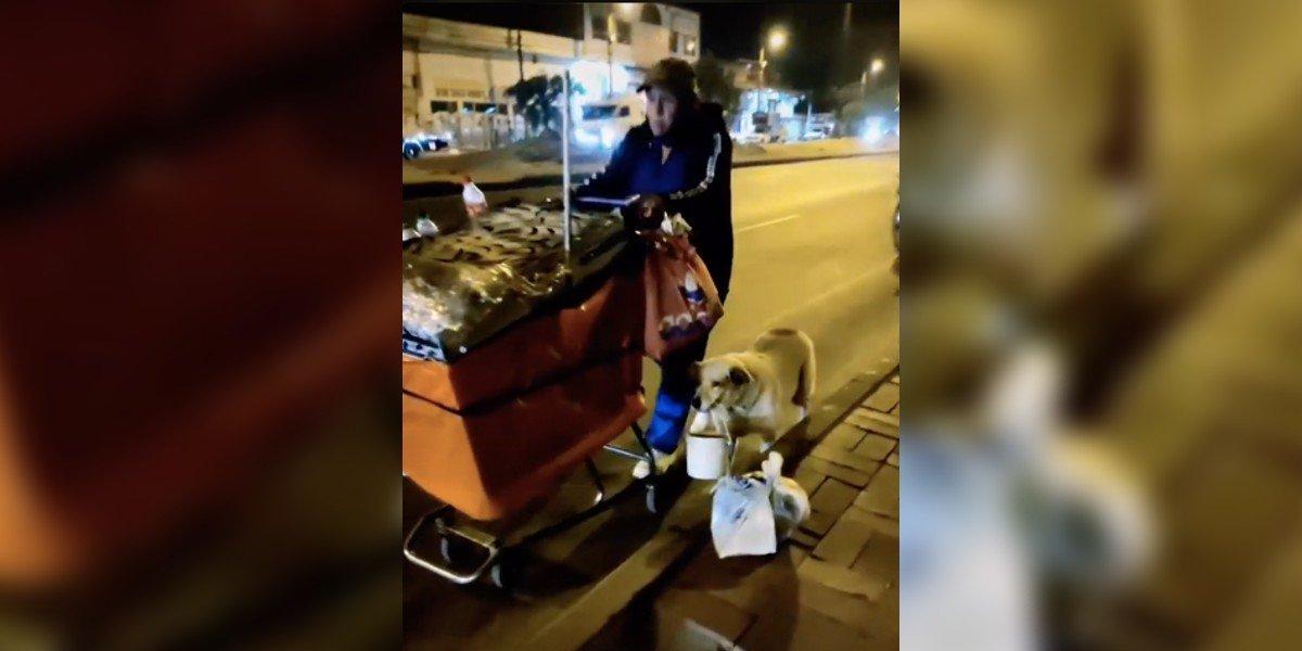 Perrito le ayuda a su dueño a salir todas las noches a trabajar. VIDEO